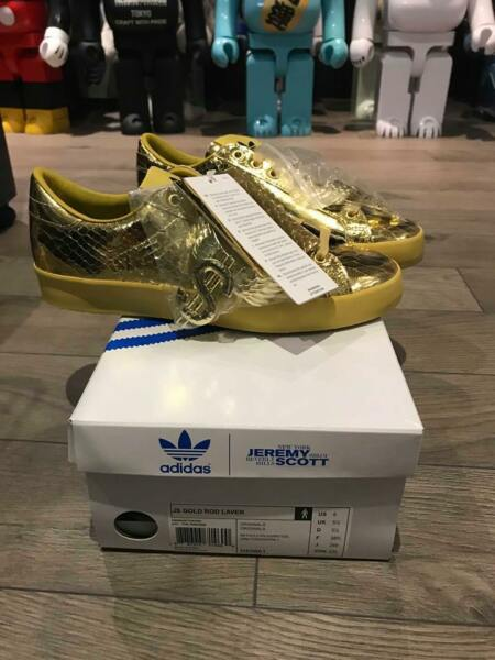 NEW ADIDAS JEREMY SCOTT JS GOLD ROD LAVER 100% AUTHENTIC 6 BAE RARE