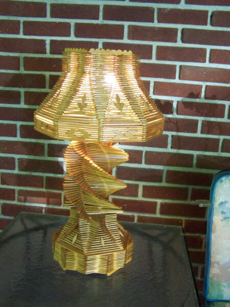 IMPORTANT EARLY ARTS AND CRAFT MOVEMENT ERA FOLK or TRAMP ART LAMP LARGE FORM