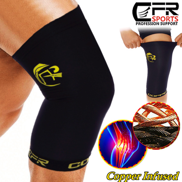 Copper Pro Series Performance Compression Knee Sleeve Brace S-2XL for MenWomen