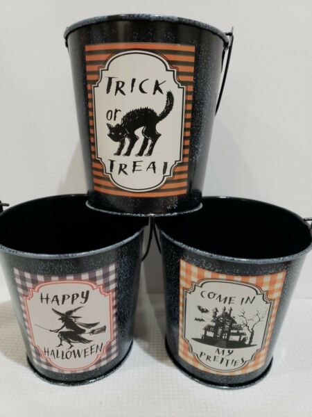 Vintage Style Witch Black Cat Haunted House Halloween Tin Bucket Pails Decor 3