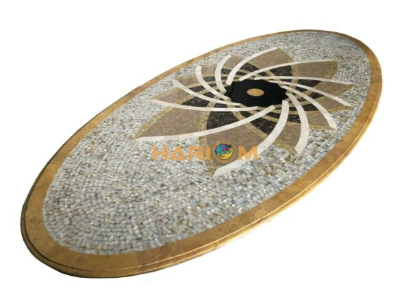 13'x6' Marble Dining Top Table Mosaic Collectible Inlay Modern Seashell Art E147