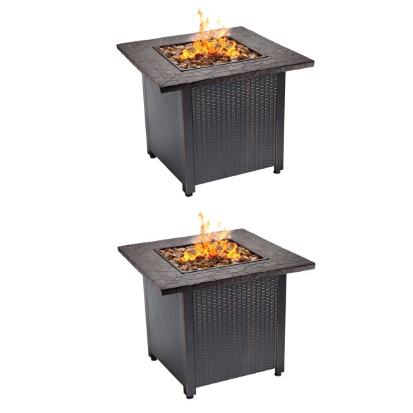 Endless Summer Decorative Push Button All Weather Outdoor Gas Fire Pit (2 Pack)