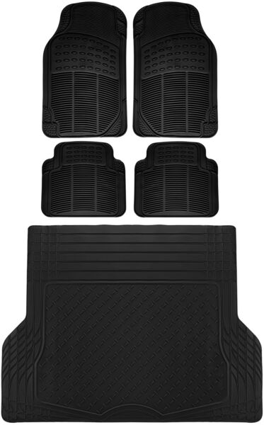 5pc All Weather Heavy Duty Rubber Universal Floor Mat Black 2 Row