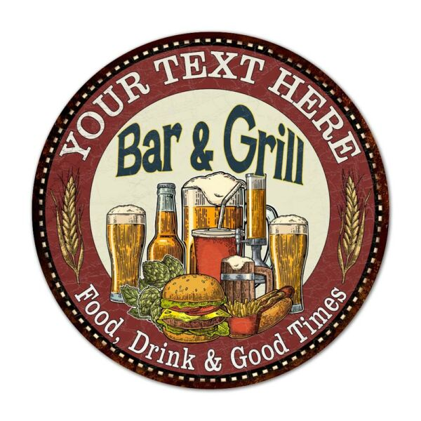 YOUR NAME Bar and Grill Round Metal Sign Kitchen Wall Decor 100140020001