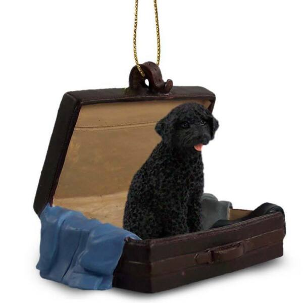 Portuguese Water Dog Traveling Companion Dog Figurine In Suit Case Ornament $16.99