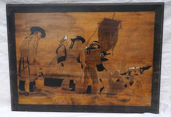 Art Deco Breton Pyrography Wood Plaque M Gest Procession Quimper 1930