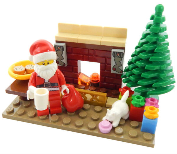 NEW LEGO SANTA CLAUS wChristmas Tree Fireplace Gifts  minifigure minifig visit