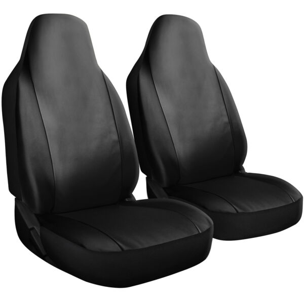 Seat Cover Set Front Integrated Bucket for Car Truck SUV PU Leather - 2pc Black