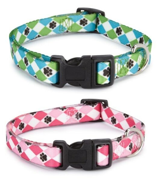 Pooch Pattern Dog Collars Pawprint Argyle Design Choose Pink or Green