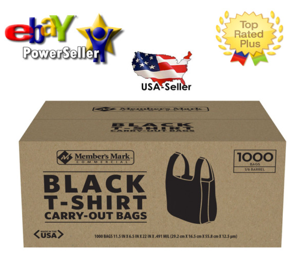 Member's Mark Black T-Shirt Carryout Bags (1000 ct.)* **Best Plastic Quality**
