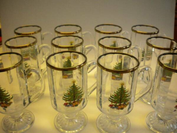 Vintage Christmas Tree Set of 12 Glass Irish Pedestal Coffee Mugs 8 oz
