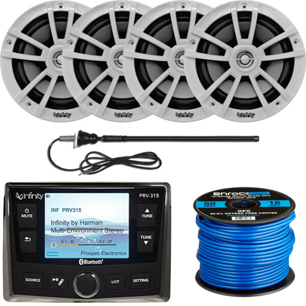 Infinity Marine Bluetooth Receiver 4x 6.5quot; 225W Speakers Antenna 50foot Wire $455.99