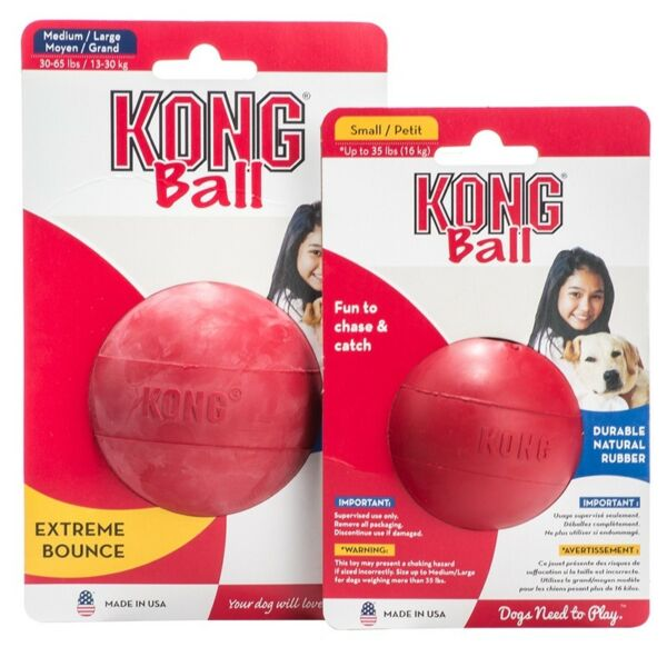 Hard Rubber Ball Dog Chew Tough Toy Red Durable Dental Health - Choose Size