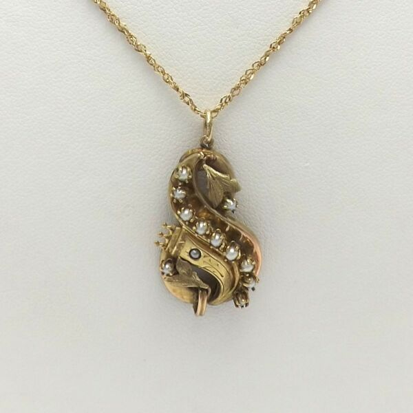 Art Nouveau 10K Green And Yellow Gold Seed Pearl Leaves Pendant Necklace 24quot;