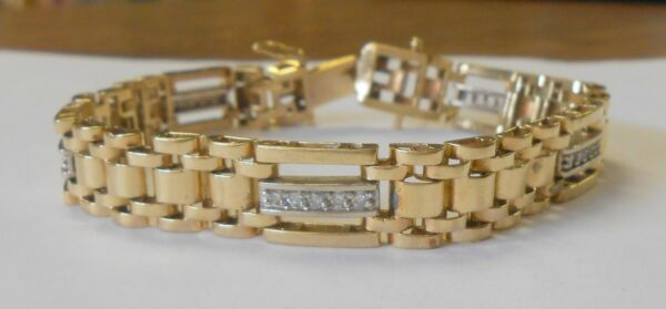 Hefty 14K Yellow Gold Panther Link Wide 10 mm Bracelet Approx 1 Ct Diamonds 8