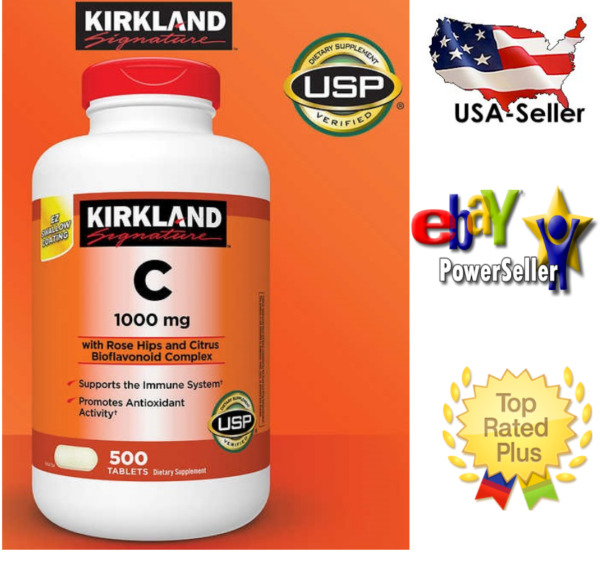 Kirkland Signature Vitamin C 1000 mg 500 Tablets***USP Verified**