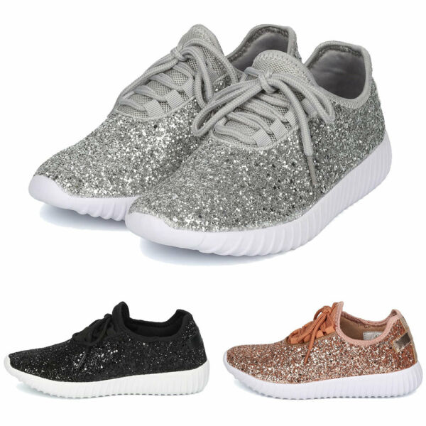 Women's Glitter Lace up Sneakers Sparkle Slip On Wedge Platform Athletic Shoes