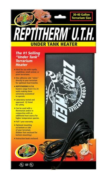 Zoo Med ReptiTherm UTH Under Tank Heater for Reptiles 30 40 gallon 8x12 inches $24.99