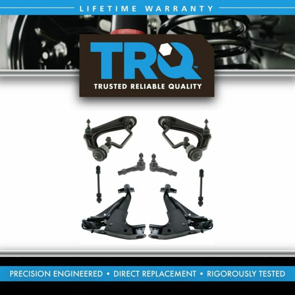 TRQ Front Steering Suspension Kit Control Arms Ball Joint Tie Rod Sway Link 8pc