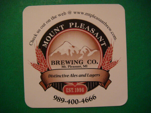 Cool Beer Bar Coaster ~ MOUNT PLEASANT Brewing Co: Established in MICHIGAN 1996