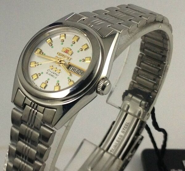 New ORIENT 3 Star Automatic Watch Women's Silver White Dial FNQ1X003W