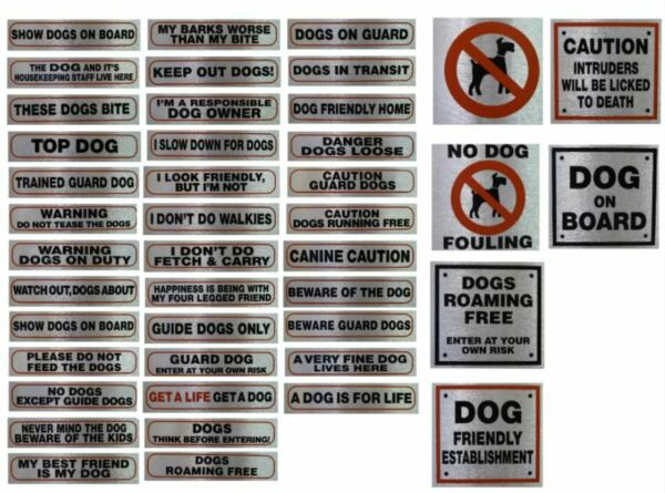 Self Adhesive Pet Information Dog Signs Messages Warning High Quality Stickers GBP 2.25