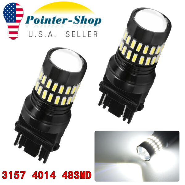 2pc 3157 4114 4157 LED DRL Driving Daytime Running Light Bulbs 48SMD 6000K White