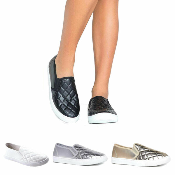 Women Slick Quilted Fashion Sneakers Light Weight Comfort  Slip On Flat Shoes