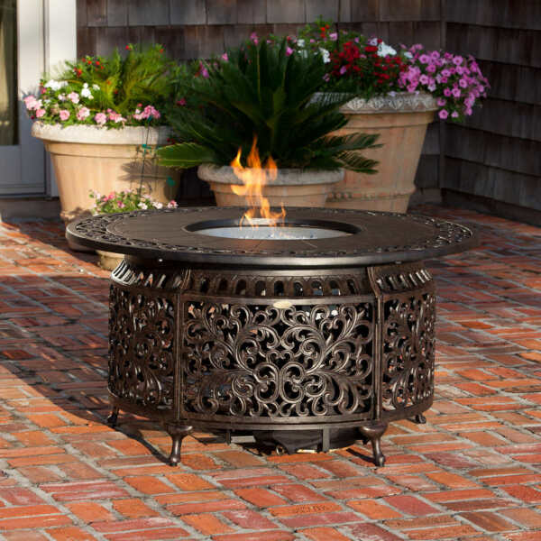 GAS FIRE PIT ROUND Clear Fire Glass Backyard Patio Poolside BRONZE Covers