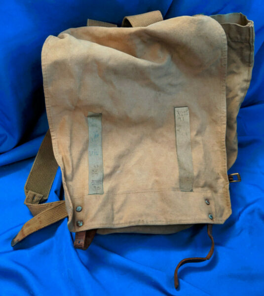 WWII Tan Canvas Backpack Hiking Military Mountain Bag Napsack Leather Straps vtg $40.54