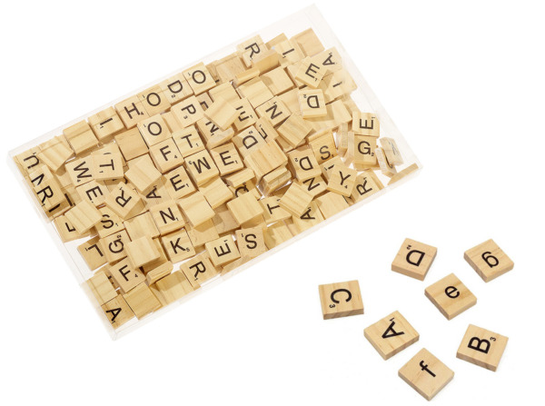 200 WOODEN FOR SCRABBLE TILES BLACK LETTERS WITH NUMBER SCORE FOR ARTS amp; CRAFTS