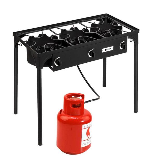 Portable Propane 225000-BTU 3 Burner Gas Cooker Outdoor Camp Stove Best Price