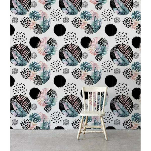 Non-Woven wallpaper Exotic Abstraction Circle with watercolor leaves Tropical