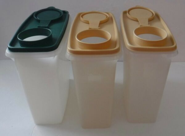 Set of 3 Tupperware Cereal Storer 13 Cup Pour All Keeper SheerClear Free Ship