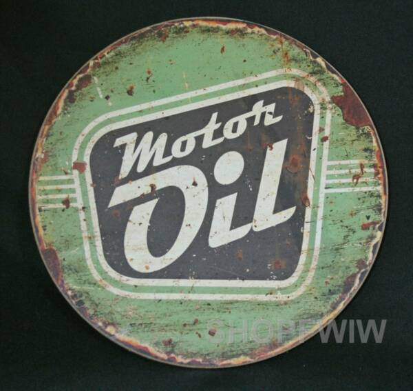 Vintage Reproduction Wood Motor Oil 12 Inch Round Sign $12.00