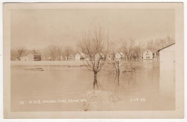 KEENE NORMAL SCHOOL ATHLETIC FIELD RPPC RP Real Photo Postcard New Hampshire NH