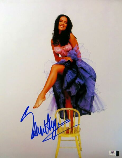 Salma Hayek Signed Autographed 11X14 Photo Cute Sexy Dress on Chair GV816196