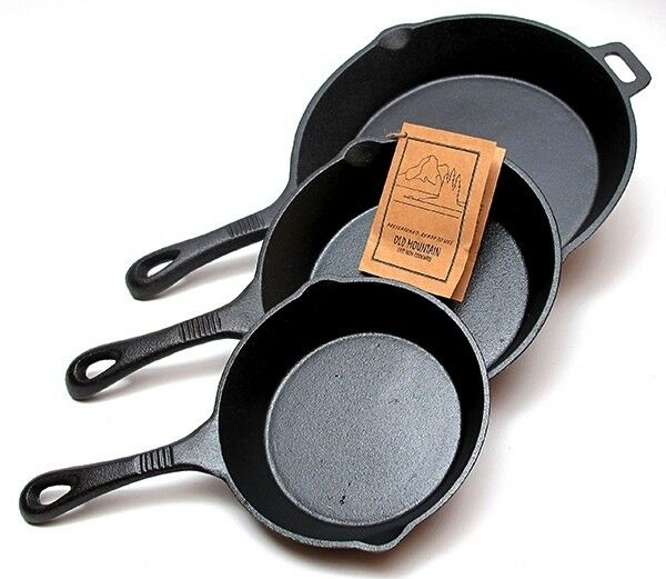 Old Mountain Cast Iron 3 pc Skillet Set Pre Seasoned Cookware #10100