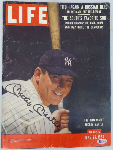 Mickey Mantle Autographed Signed Life Magazine New York Yankees Beckett #A71758