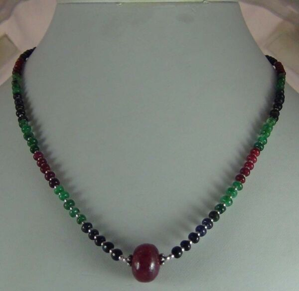 61Cts NATURAL CABOCHON RUBY BEADS NECKLACE 3MM WORLDWIDE SHIP 303