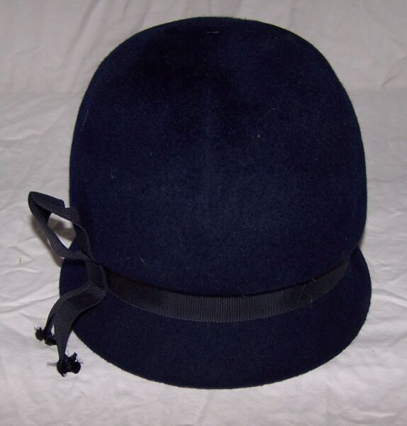 6200 VINTAGE Ladies HENRY POLLAK Navy Blue Wool Bubble Hat Peachfelt USA Union#