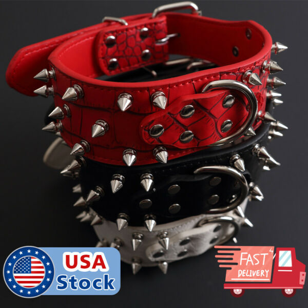 Spiked Studded Rivet PU Leather Pit Bull Dog Collar BLACK L XL FOR LARGE BREEDS $12.98