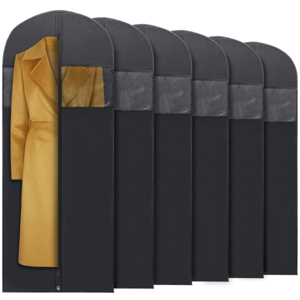 Plixio 6 Pack 60quot; Long Black Garment Bags for Clothing Storage of Dresses Suits