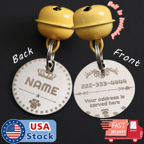 Stainless Steel Pet ID Tags Dog Tags Personalized Front and Back Engraving $7.98