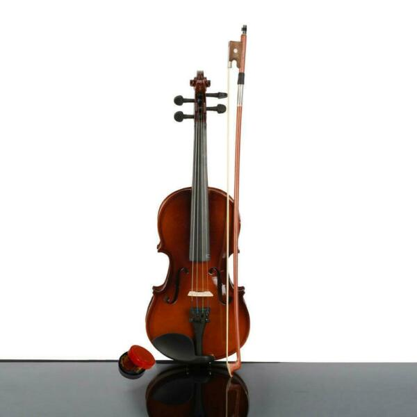 New 6 8 Years Old Children Acoustic Violin 1 4 size Natural Case Bow Rosin