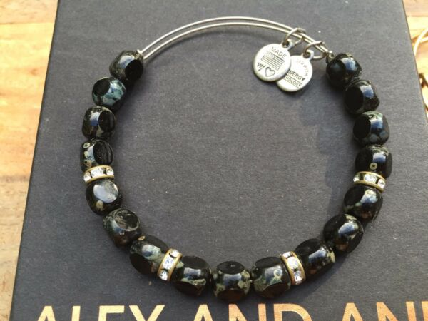 ALEX and ANI JET Black EDEN Russian SILVER Beaded RHINESTONE Bangle BRACELET