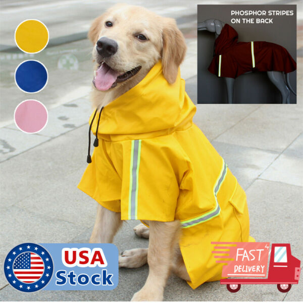 Dog Raincoat Waterproof Outdoor pet Doggie Rain Coat Rainwear Clothes $9.98