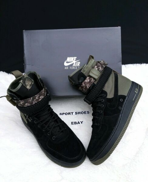 SIZE 10 MEN'S NIKE 864024 004 SF AF1 AIR FORCE ONE BLACK CAMO BOOTS SNEAKERS