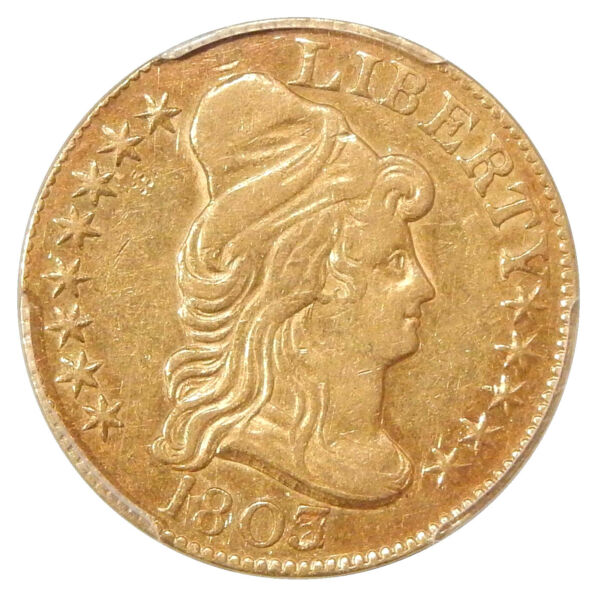18032 $5 PCGS AU-53 ~ RARE CAPPED BUST GOLD HALF EAGLE OVERDATE VARIETY