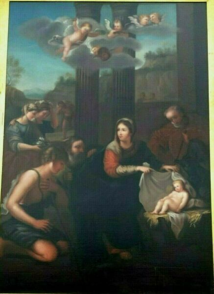 early 1800's original The Nativity oil painting: Lady Caroline Dawson size 7'x5'